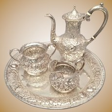 Sterling Silver Four-Piece Bachelor Tea Service by Stieff With Repousse