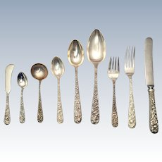 S. Kirk & Son Sterling Silver Repousse Flatware Set 76 Pieces