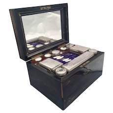 Wooden Necessaire Case With Glass and Silver Jars Maroon Lining