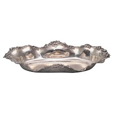 Sterling Silver Centerpiece in Oval Form with Repousse Flowers