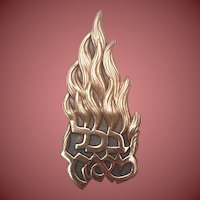 Judaic Brooch With Hebrew Quote and Flames