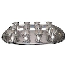 French Silver Art Deco Bar Tray by Gustave Keller