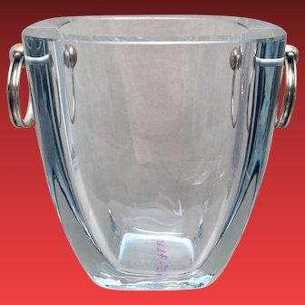 Danish Crystal and Sterling Ice Bucket