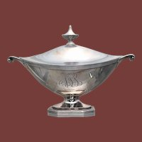 Gorham Sterling Silver Gravy Sauce Boat/ Tureen With Handles and Finial