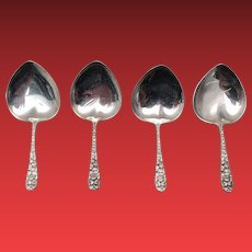 Set of Four Sterling Bonbon Servers in Heart Shape