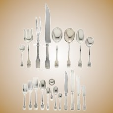 Norman Hammered Sterling Silver Flatware Service by Shreve