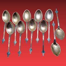 Gorham Sterling and Gilt Spoons With Decorated Handle Set of 11