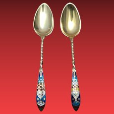 Pair of Gorham Gilt Spoons With Twisted And Decorated Handle