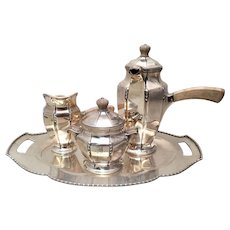 Black Starr & Frost Sterling 3PC Tea Service With Tray Art Deco