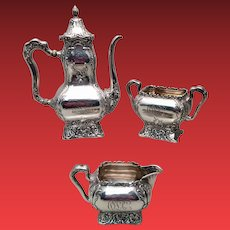Sterling Tea Service 3pc by Comell & Hubbard Co