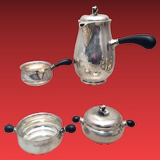 Danish Sterling Tea Service 4pc by Johannes Siggard