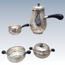 Danish Sterling Tea Service 4pc by Johannes Siggard