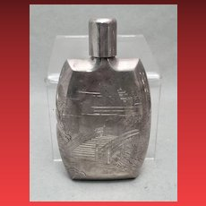 Chinese Silver Flask With Chased Scenery