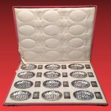 German Silver Matchbox Set Set of Twelve