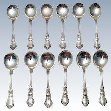 Gorham Sterling Cream Soup Spoons In Baronial Pattern Set of Twelve ca 1898
