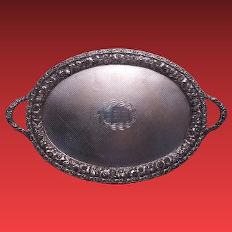 """Jenkins & Jenkins Large Sterling Tray in Repousse 29"""""""