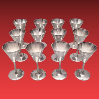 Set of Twelve Sterling Cocktail Cups by Tackhing in Champagne Shape