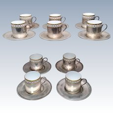 Tiffany & Co Sterling Cups and Saucers Set of Ten