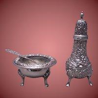 S. Kirk & Son Sterling Silver Repousse Set – Salt, Salt Spoon and Shaker