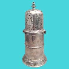 Large English Silver Muffineer / Sugar Shaker 18th Century