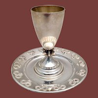 Sterling Kiddush Cup With Coaster by Dabbah in Small