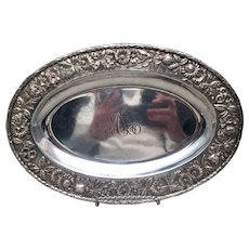 S Kirk & Son Oval Sterling Serving Tray with Repousse Border