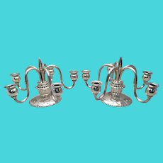 Pair of Continental Georg Jensen Style Silver Five Light Candelabras