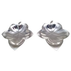 Pair of Tiffany & Co Sterling Silver Condiment Dishes in Leaf Form