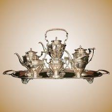Mexican Silver Tea Service 7pc 20th Century Art Deco