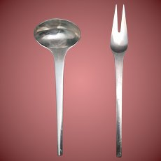 Georg Jensen Sterling Salad Servers in the Caravel Pattern