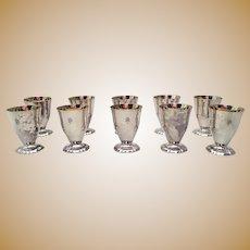 Set of 10 Sterling Silver Kiddush Cups / Wine Goblets by Linsky