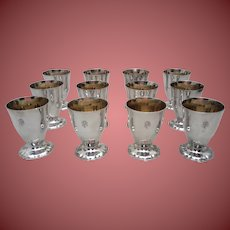 Set of Twelve Sterling Wine Goblets / Kiddush Cups by Linksy
