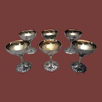 Set of Six Sterling Martini Cups / Wine Goblets by Linsky