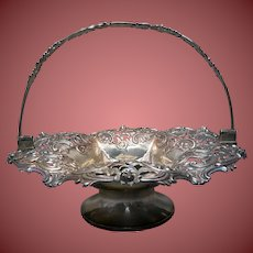 Sterling Silver English Bridal / Fruit Basket Victorian 19th century