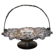 Sterling Silver English Bridal / Fruit Basket Victorian 19th century