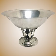 Large Georg Jensen Sterling Hand Hammered Centerpiece 196