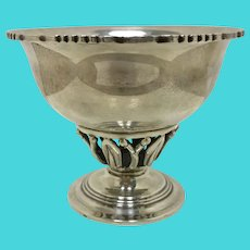 Vintage Sanborn Silver Footed Bowl with Pierced Base in Jensen Style