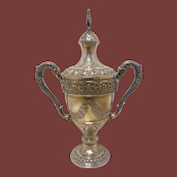 Sterling Silver Trophy / Centerpiece With Repousse Pattern by Currier & Roby