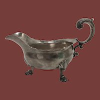 English Sterling Silver Footed Sauce / Gravy Boat Circa 1759