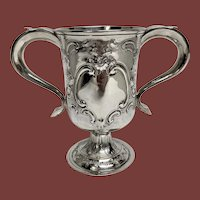 English Silver Vase / Trophy With Repousse 19th Century