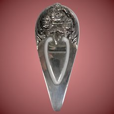 S Kirk & Son Sterling Rose Repousse Bookmark