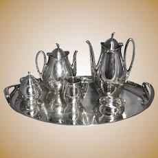 Sterling Silver Art Modern High Style 6 Piece Fine Tea Service