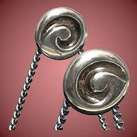 1994 Linda Lee Johnson Silver Circle Brown Curve Earrings