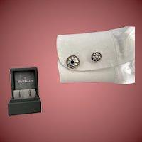 Buccellati Sterling Silver Cufflinks With Flower Motif and Semi-Precious Stones
