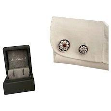 Buccellati Sterling Silver Cufflinks With Flower Motif and Gem