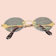 Bulgari Gold 18k Rimless Eyeglasses with Round Lenses