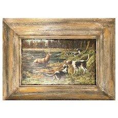 Unusual Large Micro Mosaic Art Deer and Dog Scene Framed