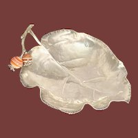 Buccellati Sterling Silver Leaf Condiment Dish with Two Carnelian Beads