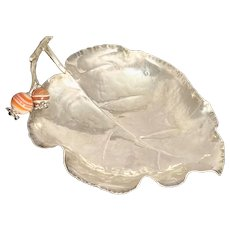 Buccellati Sterling Leaf Condiment Dish with Two Carnelian Beads