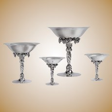 Georg Jensen Grapevine Pattern Tazze/Compote Group of 4